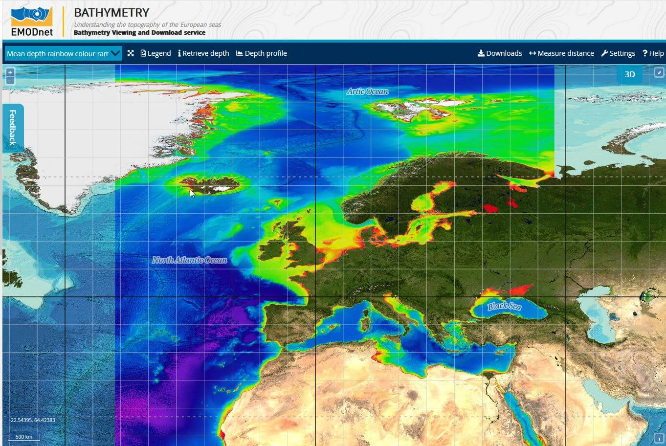bathymetry viewing and download service interface